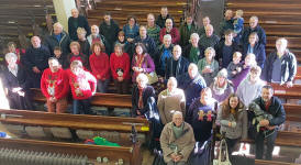 Some of the ringers who participated in Christmas Ringing in Ipswich in 2019 at St Margaret's.