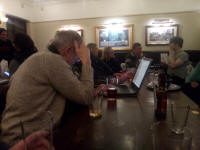 Analysing the results of Hawkear at The Cricketers after St Mary-le-Tower practice.