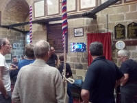 The St Mary-le-Tower band analysing the results of a piece of ringing on Hawkear at The Norman Tower this afternoon.