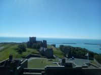 View from the top of Dover Castle, featuring St Mary-in-Castro and in the distance the coast of France.
