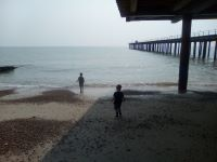On Felixstowe beach.