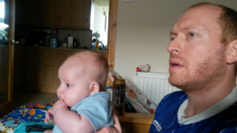 Alfie and me watching Ipswich Town on the TV as we get into injury time.