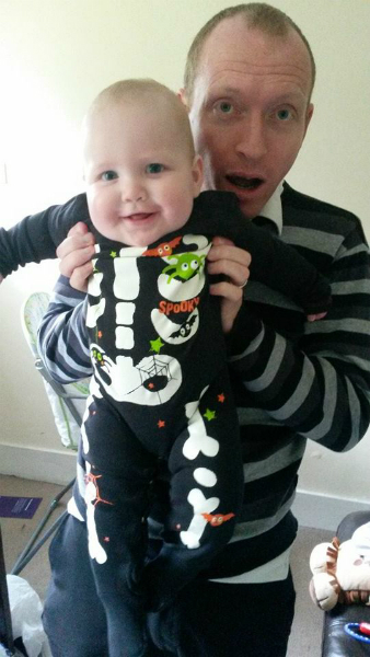 Alfie in his costume for his baby club Halloween party.