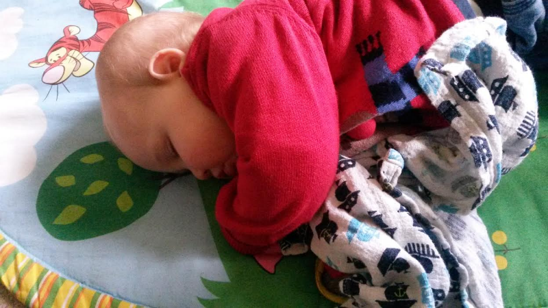 Alfie after the Children Centre's Christmas party - it was all a bit much for him!