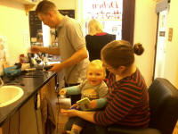 Alfie prepares for his first ever haircut...