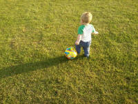 Alfie the footballer on the campsite.