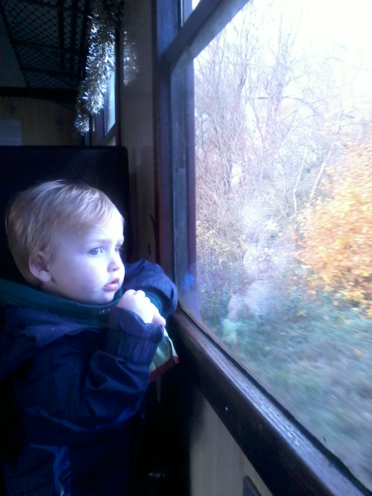 Alfie on the train at Nene Valley Railway.