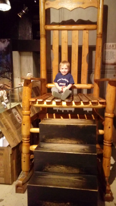 Alfie in a giant chair at Ripley's Believe It or Not