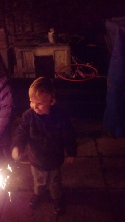 Alfie with a sparkler.