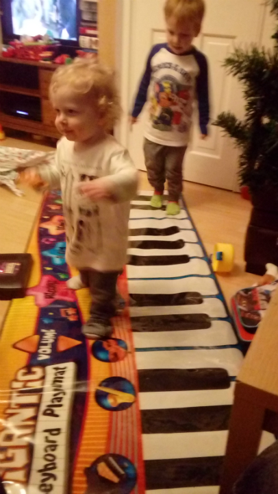 Alfie and Joshua enjoying the piano playmate - they hadn't quite managed Stedman Triples on it before it was put away!