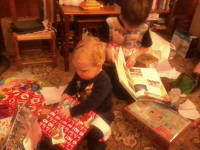 Alfie & Mason ripping into their present's at Chez Ashcroft.