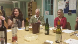 St Mary-le-Tower wine tasting in Church House – l to r; Abby Antrobus, Stephen Cheek & Sue Williamson.