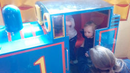 Alfie & Joshua take a ride on Thomas the Tank Engine.