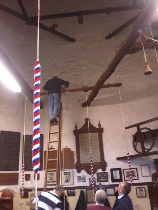 Derek Rose threading the second rope back through the guides at Lavenham.