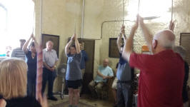 Ringing at Framlingham for the SE District Practice – l to r; treble Sue Williamson (back to camera), 4th Tracey Scase, 5th Abby Antrobus, 6th Mervyn Scase, 7th Rowan Wilson & tenor Mike Cowling.