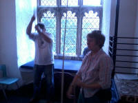 Mike Dew (on tenor) and Sally Munnings (on treble) ringing at Graveley on Rambling Ringers Tour.