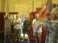 Ringing at Grinton, l to r - Chris Woodcock, Chris Birkby, Phil Wild, Paul de Kok & Geoff Pick.