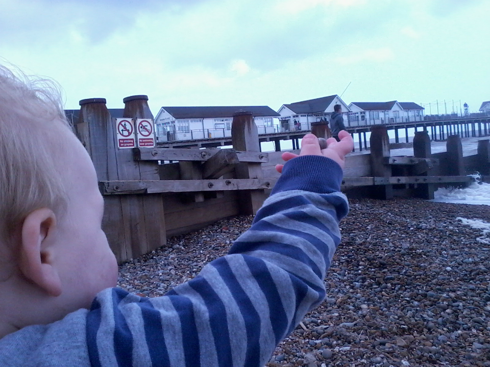 Mason & Alfie enjoying a bracing Southwold seafront!