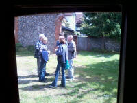 Listening to the ringing at Walsham-le-Willows.