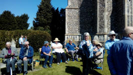 Enjoying the ringing in Earl Stonham churchyard in the sunshine!