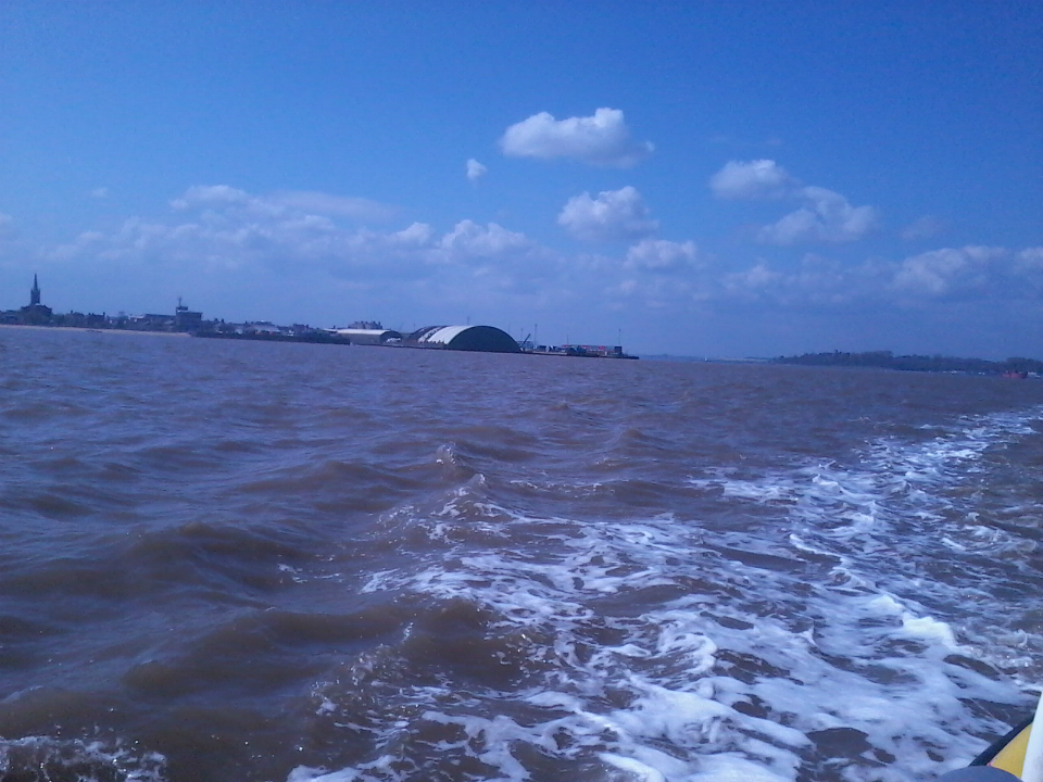 Harwich from the return ferry, with the spire of the tower on the far left and Shotley Peninsula on the right.