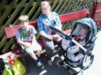Mason, Ruthie & Mason at Haworth station.