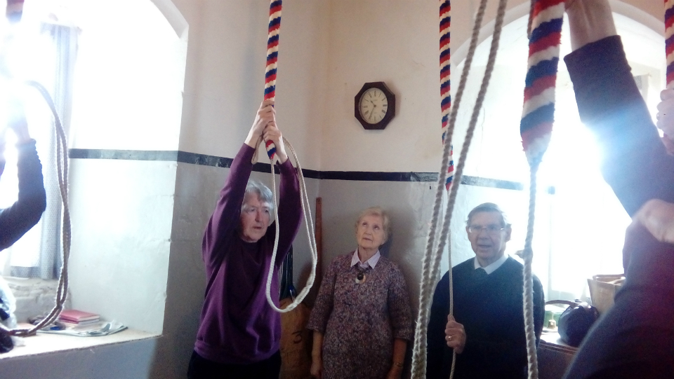 Ringing at Holbrook on the Woodbridge Ringers' Outing.