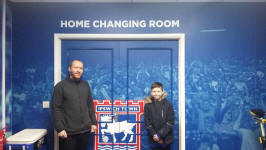 Mason and me outside the home dressing room at Ipswich Town.