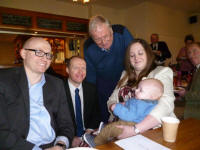 Joshua with his Godmother Becky, Grandfather Alan, me and his Uncle Chris after his Christening.