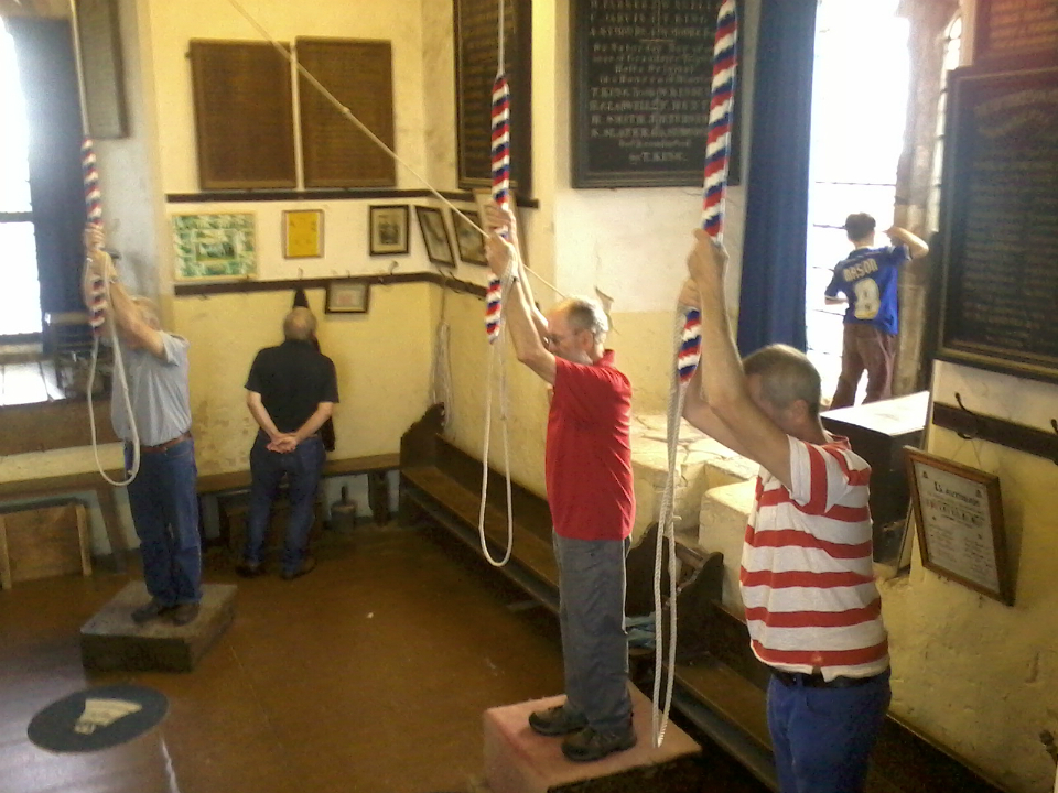 Ringing at Lavenham on the Pettistree outing. Treble Elaine Townsend, 2nd Pippa Moss, 3rd Mary Garner, 4th Jane Harper, 5th Anne Buswell, 6th Ray Lewis, 7th Chris Garner & Tenor Mike Whitby