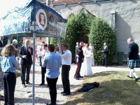 The new Mr & Mrs Culham come out of Lawford church to ringing on The Vestey Ring.