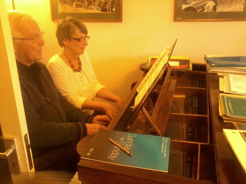 Mary playing the piano on her birthday!
