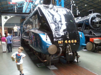Mason enjoying the National Railway Musuem in York in front of Mallard.