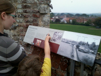Mason the tour guide shows Ruthie around Framlingham Castle.