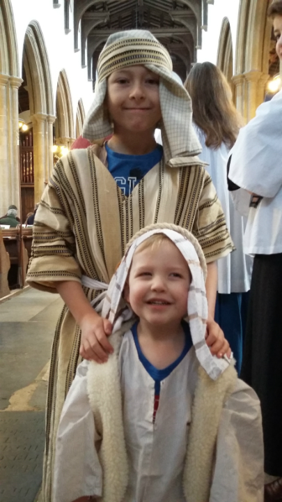 Mason and Alfie as Joseph and a shepherd respectively in the church nativity.