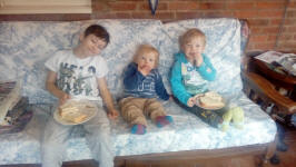 Mason, Joshua and Alfie enjoying lunch at Aunty Janet and Uncle Mick's.