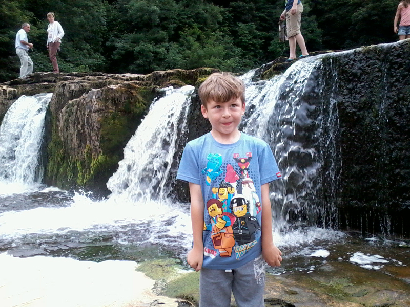 Mason at Aysgarth Falls.