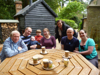 The family in the grounds of Ickworth House. l to r - Dad, me, Alfie, Mason, Ruthie, Aunty Janet, Chris & Becky. Mum was taking the photo!