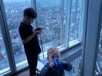 Mason and Alfie sixty-nine floors from the ground up the Shard.