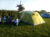 Our tent on the campsite, finally in some sunshine this evening!