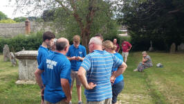 Some of the participants for the Rambling Ringers Devon Call-Change Competition outside Cheriton Bishop church.