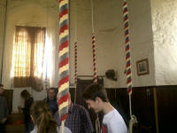 The Suffolk Guild band waiting in the ringing chamber at Wisbech to ring.