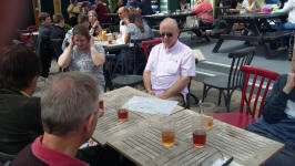 Some of the Suffolk Guild band (+ friends) in the beer garden of the Blacksmiths Arms after ringing.