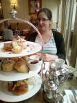 Ruthie about to tuck into our afternoon tea at Harrietts in Bury St Edmunds.
