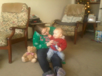 Ruthie & Alfie at her grandparents on Christmas Day.