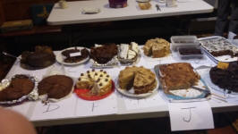 Cakes entered into the 'Bake-Off' at the SE District at Coddenham.