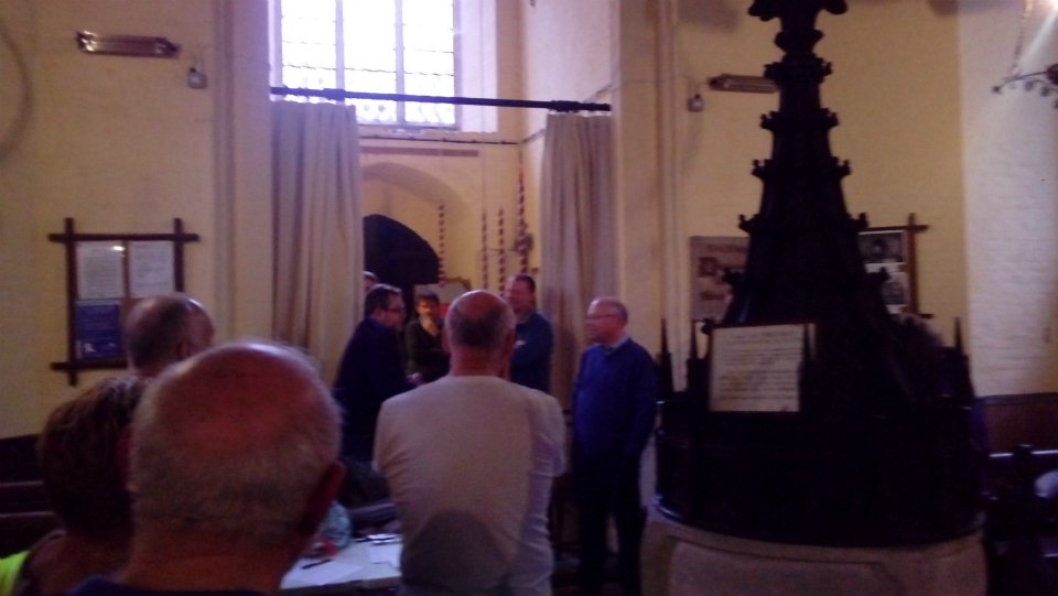 Ringing Master Jonathan Williamson addresses attendees to the South-East District Practice at Ashbocking.