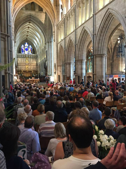 Crowds crammed into Southwark Cathedral awaiting the results.