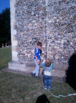 Mason and Alfie at the bottom of the tower at Sproughton.