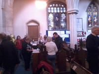 Members enjoying refreshments in the church at Sproughton during the South-East District Practice.